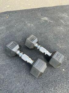 5kg pair dumbells hex rubber encased