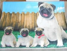 New Soft Pug Family Pugs Fleece Throw Gift Blanket Puppy Dog Breed Lover Tan NIP