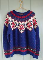 Eddie Bauer Womens Large 12 14 Blue Wool Poinsettia Heavy Knit Christmas Sweater
