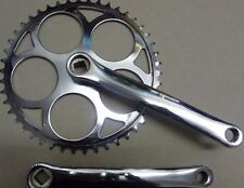 46T Single speed Chainset Chrome STEEL Crank Crankset Vintage retro look >>46t<<