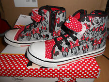 baskets montantes zip scratch MINNIE gris/rouge pointure 32 - neuves