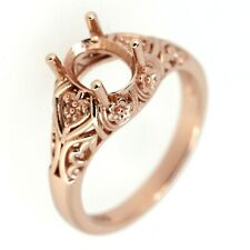 Art Deco 14K Rose Gold Semi Mount Ring Setting OV 5x7 to OV 6x8 mm