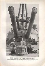 1918 WW1 WORLD WAR I PRINT BATTLESHIP NEPTUNE 12-IN GUNS FANGS OF BRITISH LION