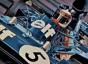 Sir Jackie Stewart 90 x 70 cms limited edition F1 art print by Colin Carter