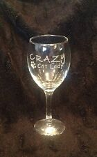 FUNNY CRAZY CAT LADY ETCHED WINE GLASS GIFT PRESENT CATS  FELINE MUM MOTHER