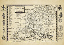 Hampshire  County Map by Herman Moll 1724 - Reproduction