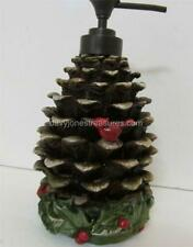 Christmas Winter Bath Lotion Dispenser CELEBRATE PINECONE with Red Bird Cardinal
