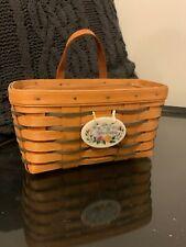 Longaberger basket, color weave, leather loop handle & happy birthday tie-on