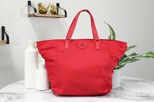 Tory Burch (64492) Nylon Leather Trim Red Small Tote Handbag Crossbody Bag