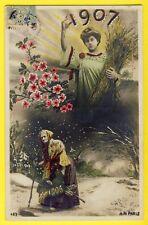 cpa Illustration A. Noyer, PARIS Départ des ANNEES 4,5,1906 BONNE ANNEE 1917