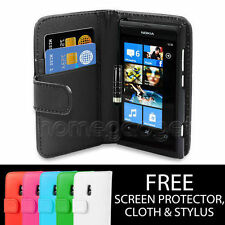 NEW LEATHER WALLET CASE COVER FOR Various Nokia Mobile Phone SCREEN PROTECTOR