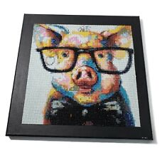 Pink Yellow Blue Black Pig Handmade Beaded Canvas Art 12x12 in Wrapped Canvas