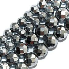 "MAGNETIC HEMATITE BEADS FACETED SILVER PLATED 6MM ROUND 16"" BEAD STRANDS"