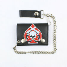 Biker Totenkopf Skull Pistolen Wallet Kette Geldbörse Portemonnaie Echt Leder