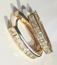 N Large real gold filled horseshoe hoop earrings, sim diamonds, Plum UK BOXED