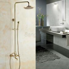 Polished Gold Brass Bathroom Rain Shower Faucet Set Bathtub Mixer Tap 8gf344