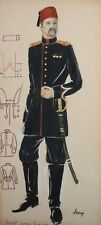 Vintage gouache painting theatre costume design turkish officer signed