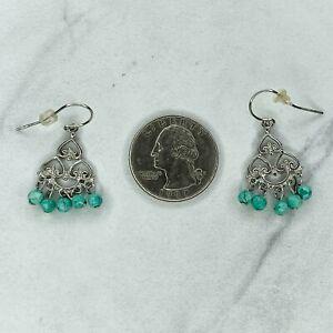 Sterling Silver 925 Faux Turquoise Chandelier Dangle Earrings Pierced Pair