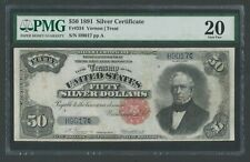 FR334 $50 1891 S/C SMALL RED SEAL PMG 20 VF+ EXT RARE 46 RECORDED WLM9597