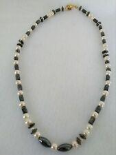 Rondelle Natural Magnetic Hermatite alternating  White/Dark Gray Pearl Necklace