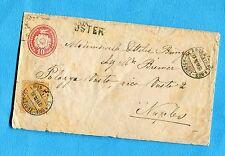 SVIZZERA - 1874 Busta Postale c.10 rosa + c.20 ann.GLARUS-ZURICH-GLARUS (401067)