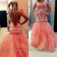 Sexy Mermaid Prom Dresses Lace Applique Formal Backless Long Evening Party Gowns