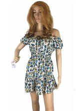 Women DressStretch Short Sleeves  Ruffle Flowy Off The Shoulder Mini Dress S