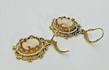 Polished Filigree Border 7.5 Grams 14K Yellow Gold Cameo Dangling Earrings