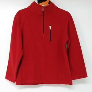 LL Bean Fleece Pullover 1/4 Zip Red Kids 7 Unisex Play Jacket Layer Fall Classic