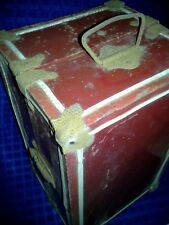 Vintage Metal Red Doll Carrying Case Trunk with Floral Interior