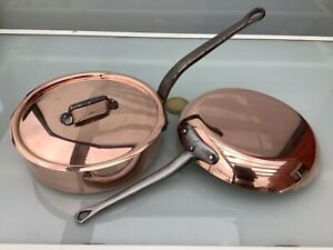 12.2 + 11 inch copper saute pan frying pan Stainless steel Mauviel France