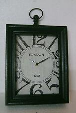 retrò grande orologio Nostalgico Shabby LONDRA VETRO VINTAGE ANTICO 30 24 6 cm