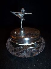 Antique Cut Glass REUGE Musical Powder Box American Crystal  Hungary Germany