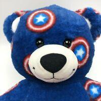 """Build A Bear Plush Bear Marvel Captain America Avengers 16"""" Red White Blue Soft"""