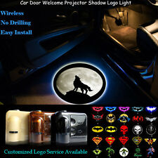 2x Wolf Moon Knight Logo Wireless Car Door Laser Projector Shadow CREE LED Light