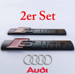 2x S-Line Emblem Schriftzug Logo Badge Kotflügel schwarz matt Audi