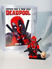 Deadpool MINIFIGURE wMini Movie Poster Display Case Lego Custom Minifig 075b f