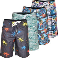 Mens Swim Hawaiian Shorts Loose Fit Summer Hawaiian Beach Multi-Color 32-40