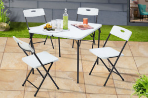 Mainstays 5 Piece Resin Plastic Card Table and Four Chairs Set, White