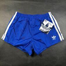 Vintage Adidas Trefoil Boys Youth L 28-30 Blue Running Shorts White Nylon NWT