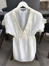 Magali Pascal Blouse Cream Silk/ Lace  top size M
