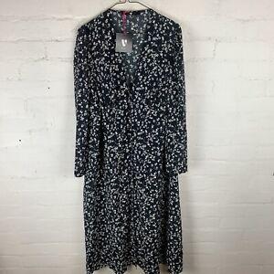 V by Very V-Neck Long Sleeve Midi Dress Floral UK18