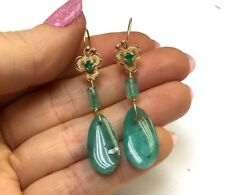 Neat! Handmade Colombian Emerald 14K Yellow Gold Drop Earrings