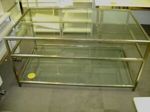 RETAIL STAINLESS STEEL & GLASS DISPLAY 3 SHELF TABLE