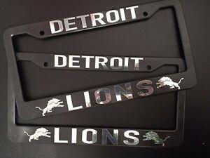 - SET of 2 - Detroit Lions Black Plastic License Plate Frame Truck Car Van