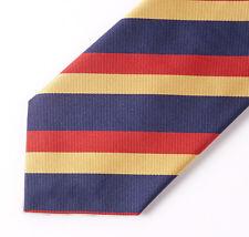 """New E.MARINELLA NAPOLI Navy Blue-Red-Yellow Stripe Classic 3.5"""" Silk Tie"""