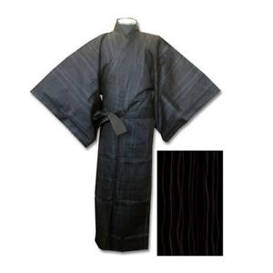 "Japanese Yukata Kimono with Sash Belt Men Women 58"" Cotton Black Weaving Stripes"