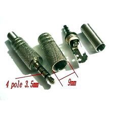 TWO - 4 Pole 3.5mm Male Repair Headphone Jack Plug Audio Soldering adapter - UK