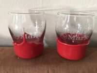 Set of 2 Makers Mark Red Wax Dipped Whiskey Glasses