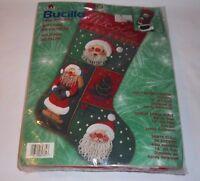 "Christmas Jolly Beaded Santa Stocking Kit BUCILLA 18"" NEW Felt Applique"